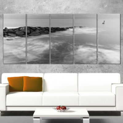 Milky Waves Splashing Over Rocks Modern Seascape Canvas Artwork - 4 Panels