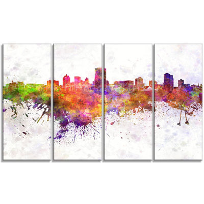 Designart Milwaukee Skyline Cityscape Canvas Artwork Print -4 Panels