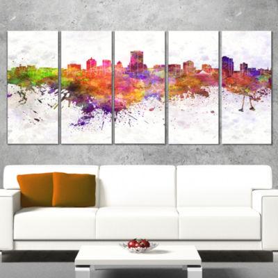 Designart Milwaukee Skyline Cityscape Canvas Artwork Print -5 Panels
