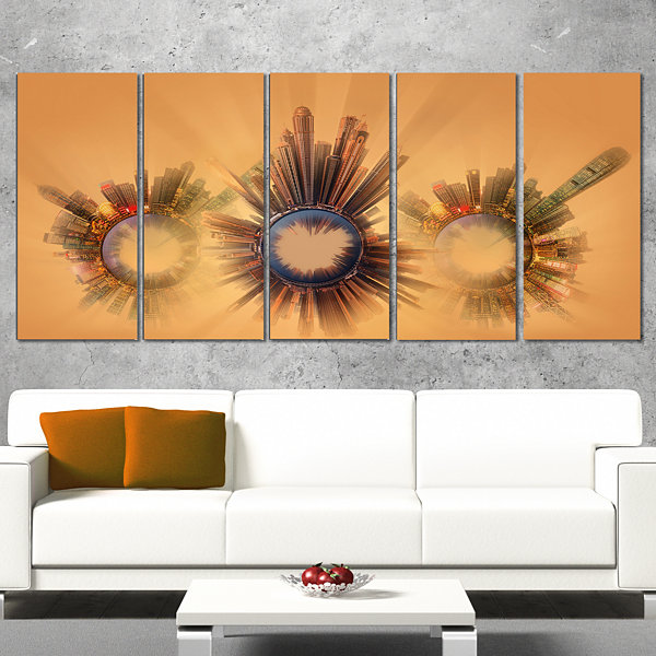 Designart Miniature Earth Planets With SkyscrapersAbstractArt on Wrapped Canvas - 5 Panels