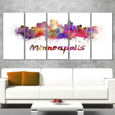 Designart Minneapolis Skyline Large Cityscape Canvas Art Print - 5 Panels