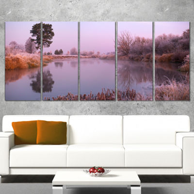 Designart Misty Autumn Sunrise Over River Landscape Print Wall Artwork - 4 Panels
