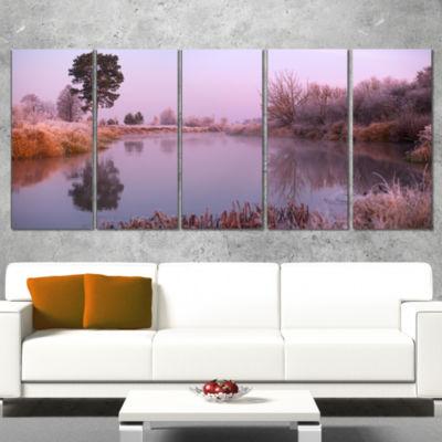 Designart Misty Autumn Sunrise Over River Landscape Print Wrapped Artwork - 5 Panels