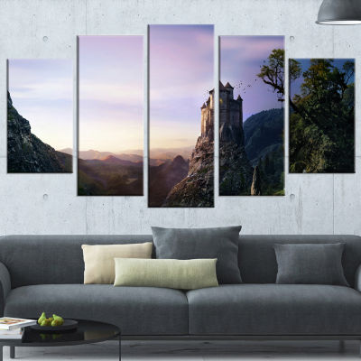 Designart Misty Castle Landscape Photography Wrapped CanvasArt Print - 5 Panels