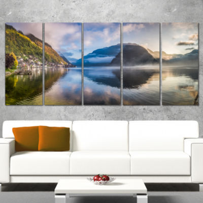 Designart Misty Lake At Dawn Panorama Extra LargeSeashore Canvas Art - 4 Panels