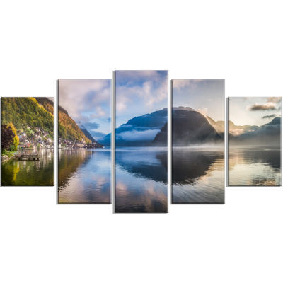 Misty Lake At Dawn Panorama Extra Large Seashore Wrapped Canvas Art - 5 Panels