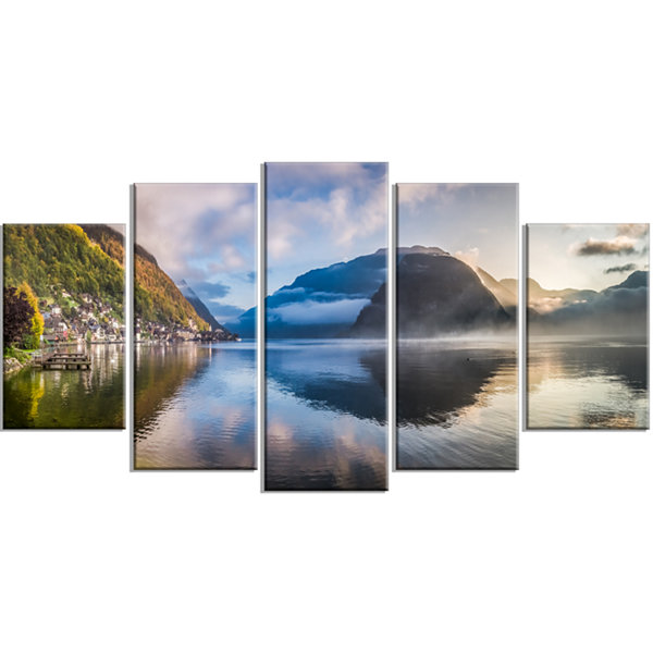 Designart Misty Lake At Dawn Panorama Extra LargeSeashore Wrapped Canvas Art - 5 Panels