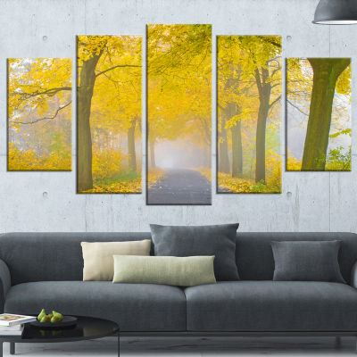 Misty Road in Yellow Autumn Forest Landscape Photography Canvas Print - 4 Panels