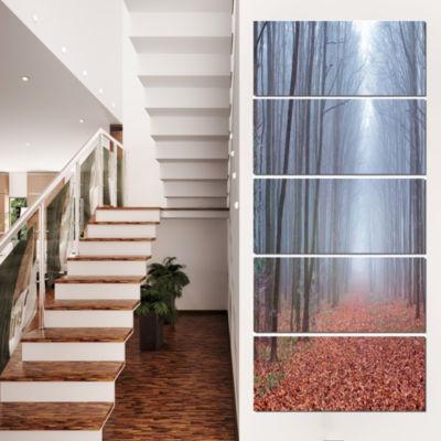 Designart Misty Trail in Autumn Forest Landscape Photo Canvas Art Print - 5 Panels
