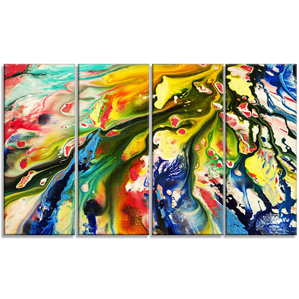 Designart Mixed Oil Color Texture Abstract CanvasArt Print- 4 Panels