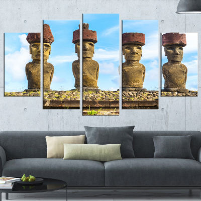 Designart Moai With Red Topknot Hat Portrait PhotoWrapped Canvas Art Print - 5 Panels