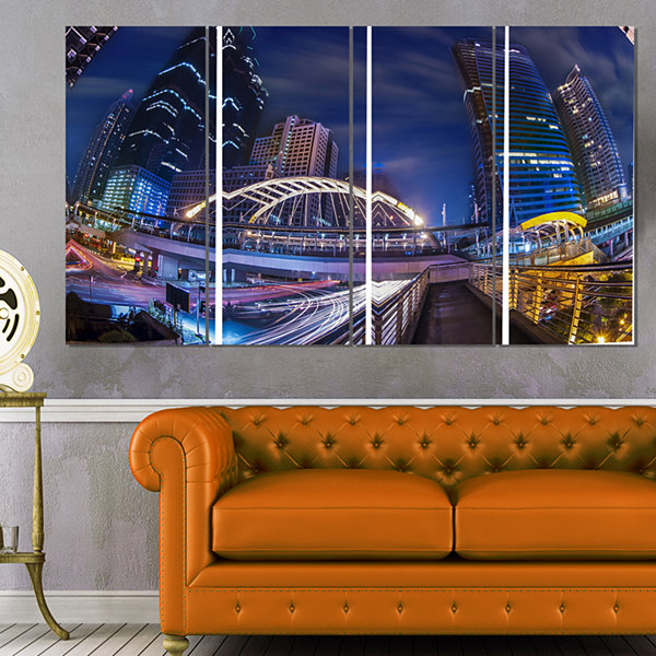 Designart Modern Bridge Cityscape Photography Canvas Art Print - 4 Panels
