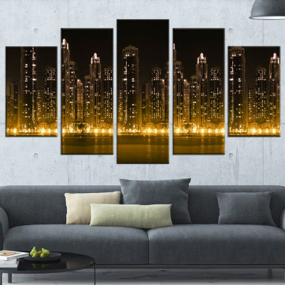 Modern City With Illuminated Skyscrapers CityscapeWrapped Canvas Print - 5 Panels