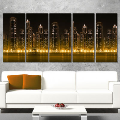 Designart Modern City With Illuminated SkyscrapersCityscapeCanvas Print - 5 Panels