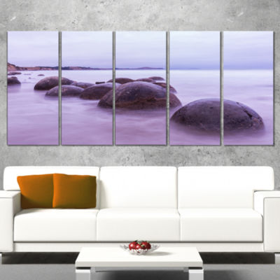 Designart Moeraki Boulders New Zealand Seashore Photo CanvasArt Print - 4 Panels
