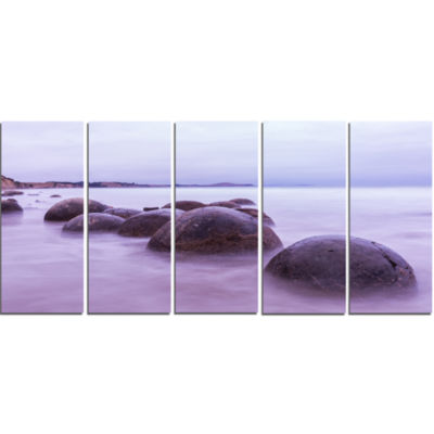 Moeraki Boulders New Zealand Seashore Photo CanvasArt Print - 5 Panels