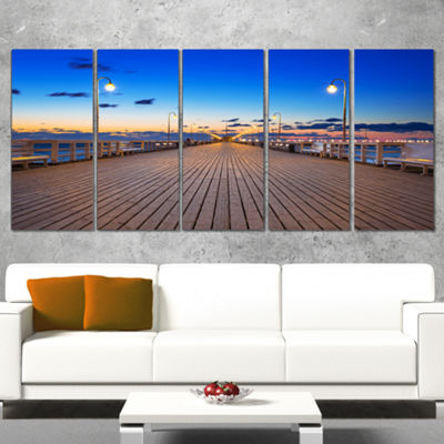 Designart Molo in Sopot At Baltic Sea Sea Bridge Wrapped Canvas Art Print - 5 Panels