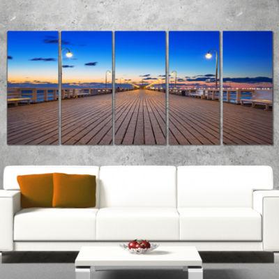 Designart Molo in Sopot At Baltic Sea Sea Bridge Canvas ArtPrint - 5 Panels