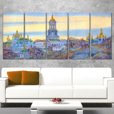 Designart Monastery on Steep Hill Cityscape Painting CanvasPrint - 5 Panels