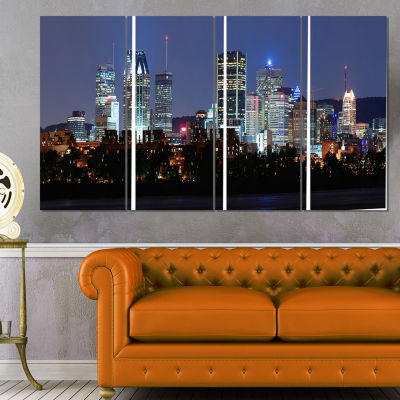 Designart Montreal Over River At Dusk Cityscape Photo CanvasPrint - 4 Panels