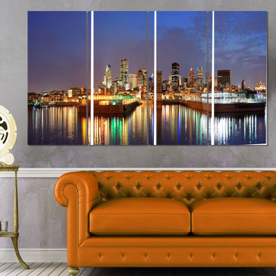 Montreal Over River Panorama Cityscape Photo Canvas Print - 4 Panels