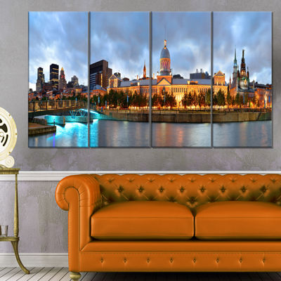 Designart Montreal Panoramic View Cityscape PhotoCanvas Print - 4 Panels