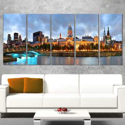 Designart Montreal Panoramic View Cityscape PhotoCanvas Print - 5 Panels