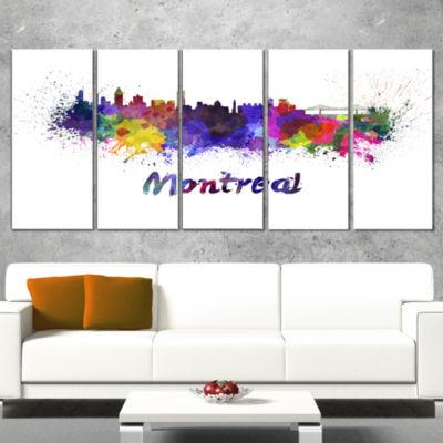 Designart Montreal Skyline Cityscape Canvas Artwork Print -4 Panels