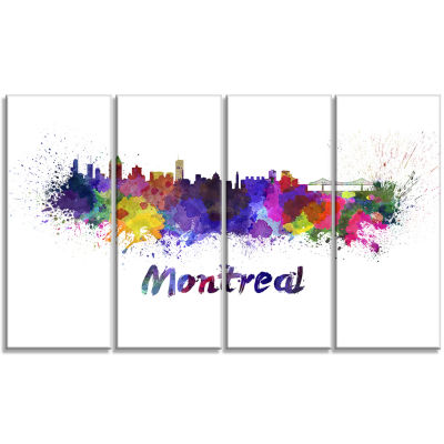 Montreal Skyline Cityscape Canvas Artwork Print -4 Panels