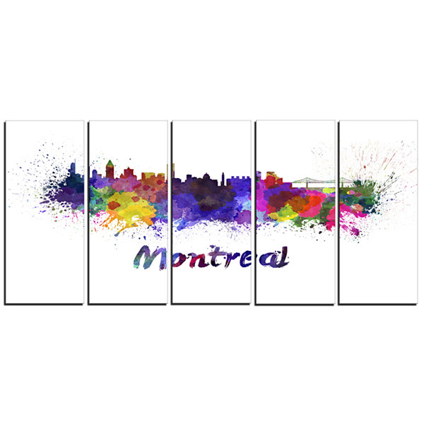 Designart Montreal Skyline Cityscape Canvas Artwork Print -5 Panels