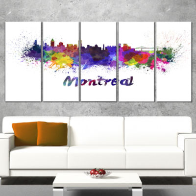 Montreal Skyline Large Cityscape Canvas Artwork Print - 5 Panels