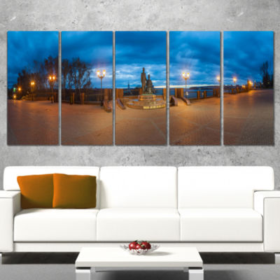 Monument To Armories Panorama Landscape Print Wrapped Artwork - 5 Panels