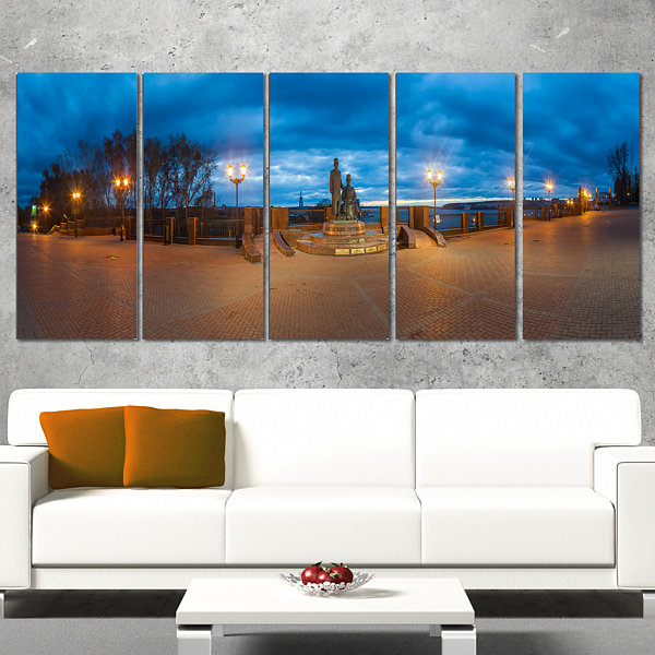 Designart Monument To Armories Panorama LandscapePrint WallArtwork - 5 Panels