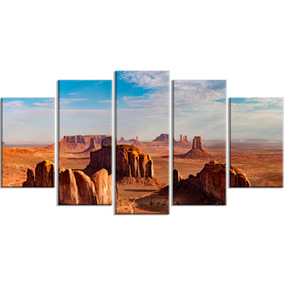 Designart Monument Valley Aerial Sky View Landscape Print Wrapped Artwork - 5 Panels