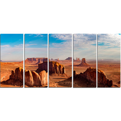Designart Monument Valley Aerial Sky View Landscape Print Wall Artwork - 5 Panels