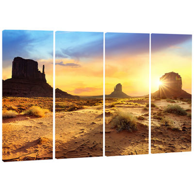 Designart Monument Valley Landscape Photography Canvas Art Print - 4 Panels