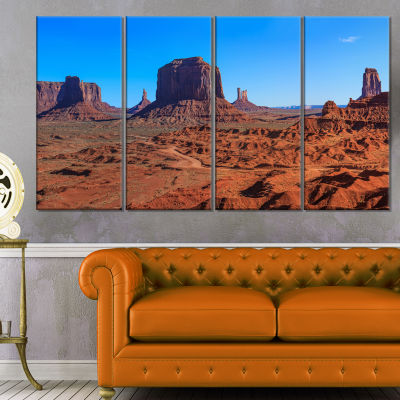 Monument Valley National Park Landscape Artwork Canvas - 4 Panels