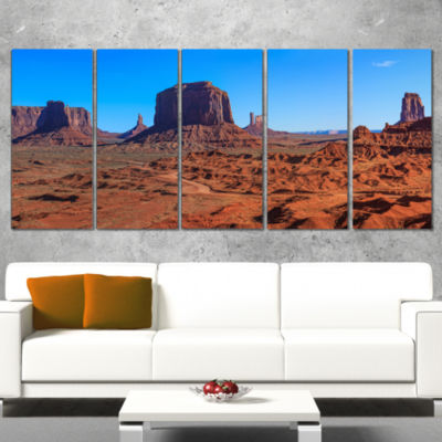 Designart Monument Valley National Park LandscapeArtwork Wrapped Canvas - 5 Panels