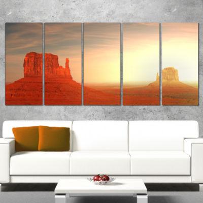 Designart Monument Valley Utah Usa Landscape Canvas Art Print - 5 Panels
