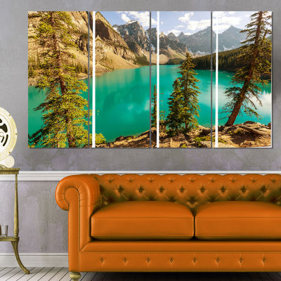 Designart Moraine Lake in Banff National Park Landscape ArtPrint Canvas - 4 Panels