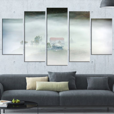 Morning Fog At Sunrise Landscape Photo Wrapped Canvas Art Print - 5 Panels