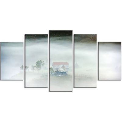 Designart Morning Fog At Sunrise Landscape Photo Wrapped Canvas Art Print - 5 Panels