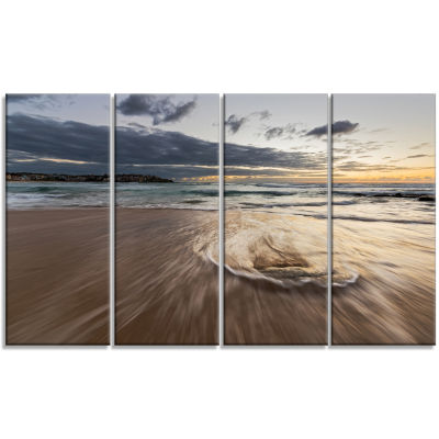 Morning With Playful Surf and Pleasant Sky Seashore Canvas Art Print - 4 Panels