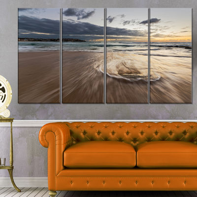 Designart Morning With Playful Surf and Pleasant Sky Seashore Canvas Art Print - 4 Panels
