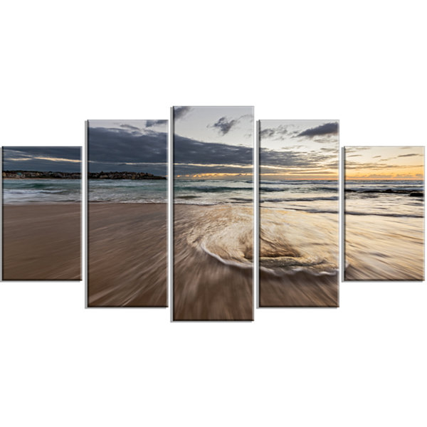 Designart Morning With Playful Surf and Pleasant Sky Seashore Wrapped Canvas Art Print - 5 Panels