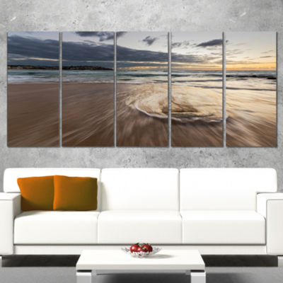 Morning With Playful Surf and Pleasant Sky Seashore Canvas Art Print - 5 Panels