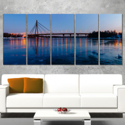 Moscow Bridge in Kiev Panorama Cityscape Wrapped Canvas Art Print - 5 Panels