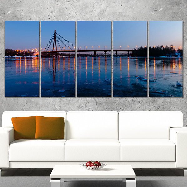 Designart Moscow Bridge in Kiev Panorama CityscapeCanvas Art Print - 5 Panels