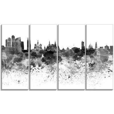 Designart Moscow Skyline Cityscape Canvas Art Print - 4 Panels