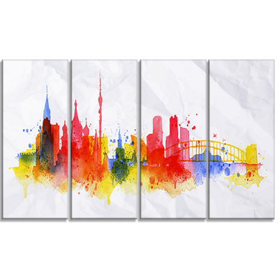 Designart Moscow Skyline Cityscape Canvas ArtworkPrint - 4Panels